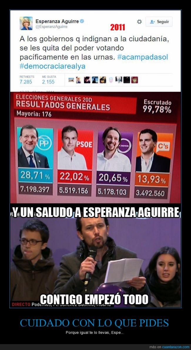 20d,ciudadania,democracia,esperanza aguirre,gobierno,Pablo Iglesias,partido,pedir,podemos,politico,urna,votación