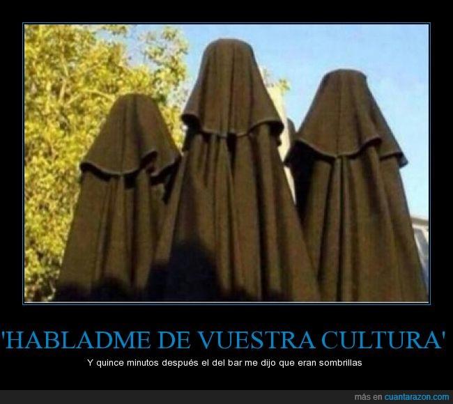 aprender,arabe,burka,cultura,interesar,musulman,paraguas,parasol,preguntar,Sombrillas