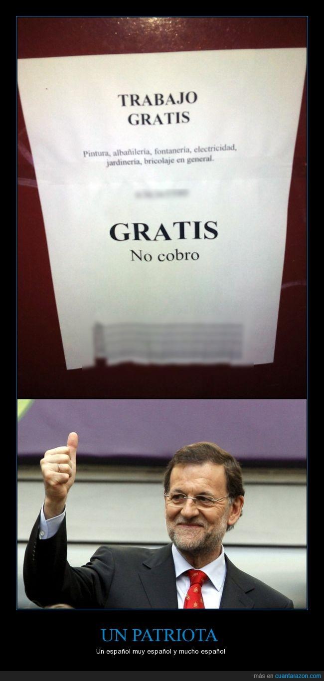 España,gratis,paro,politica,pp,rajoy,trabajo