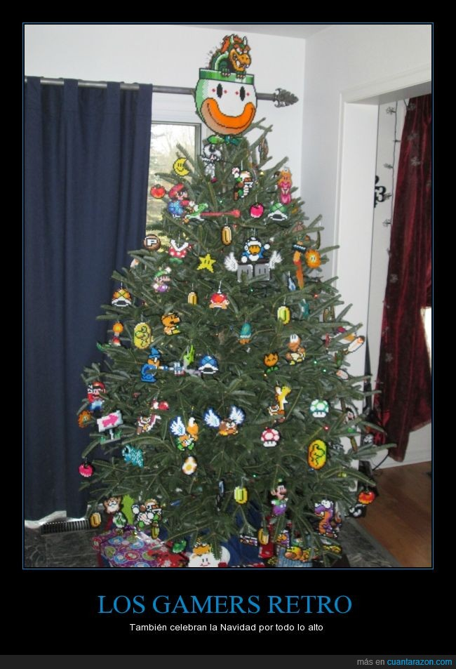 abeto,arbol,bowser,estrella,gamer,hama,luigi,mario,navidad,pixel,retro,videojuego,yoshi