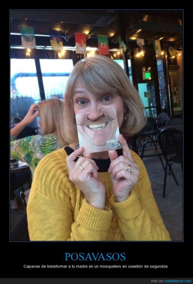 bigote,cara,madre,posavasos