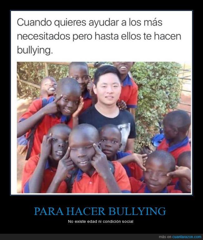 asiatico,Ayudar,Bullying,burla,burlar,Chino,negro,Niños,ojos