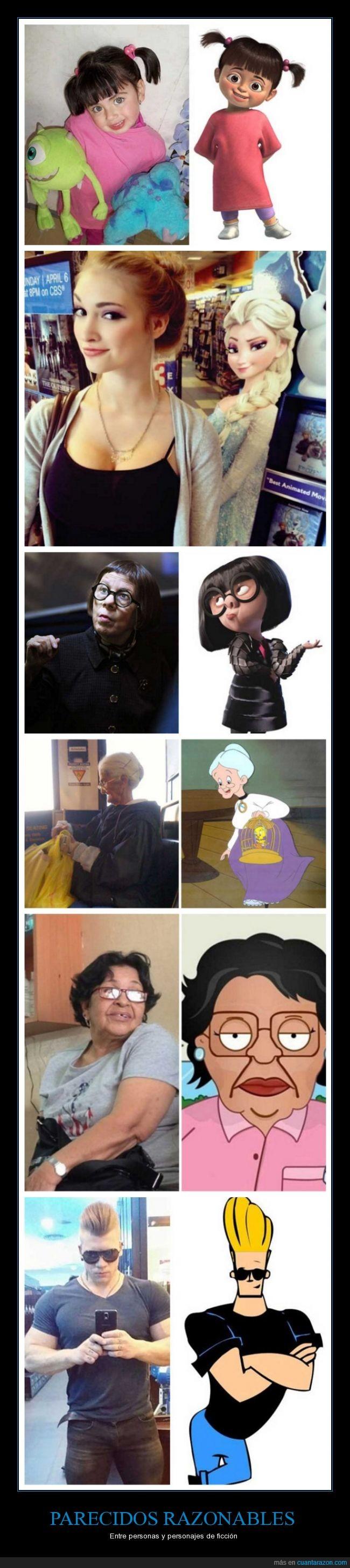 animacion,Boo,Consuela,dibujo,dibujos animados,Elsa,ficción,Johnny Bravo,parecido,parecidosrazonables,personajes,personas,series