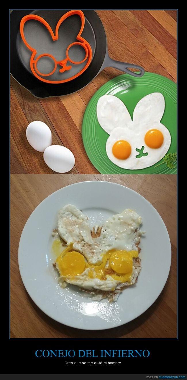 cocinar,conejo,demonio,desastre,Desayuno,huevos,infierno,propaganda