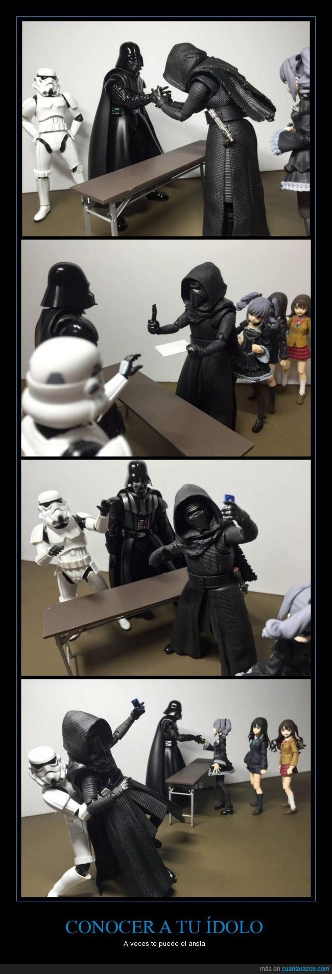 ansia,conocer,Darth Vader,fan Kylo Ren,foto,selfie,Star Wars,stormtrooper