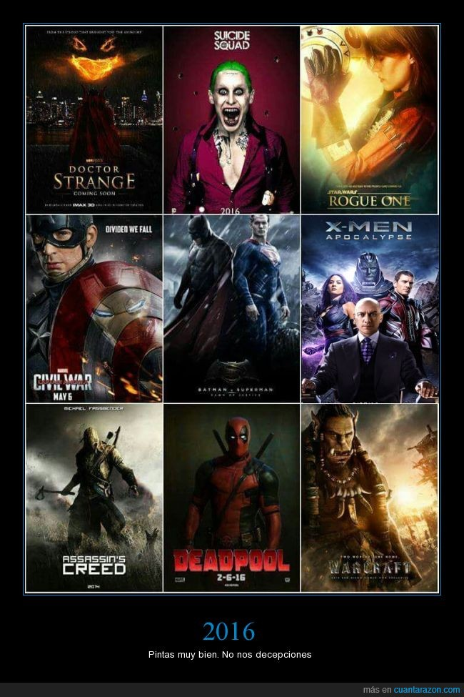 2016,Assassin's Creed,Civil War,Deadpool,decepción,Doctor Strange,películas,Rogue One,Suicide Squat,Warcraft,X-men Apocalypse