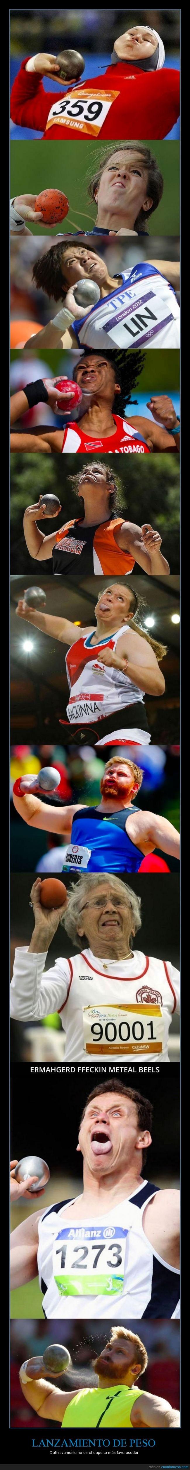 cara fotogenia,deporte,expresión,fea,feo,jeto,lanzamiento,peso,tirar