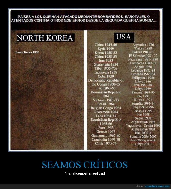 atacar,ataque,Corea del norte,Corea del sur,critico,Estados Unidos,militar,presencia,soldado,uno
