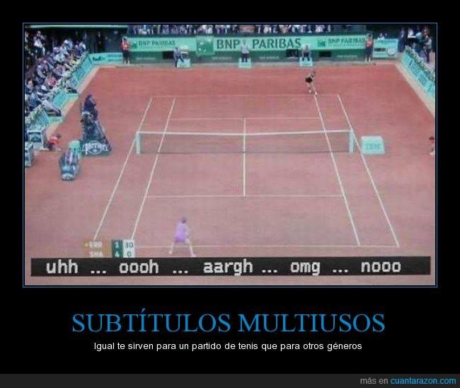 gritos,onomatopeyas,partido,subtitulos,tenis,voz