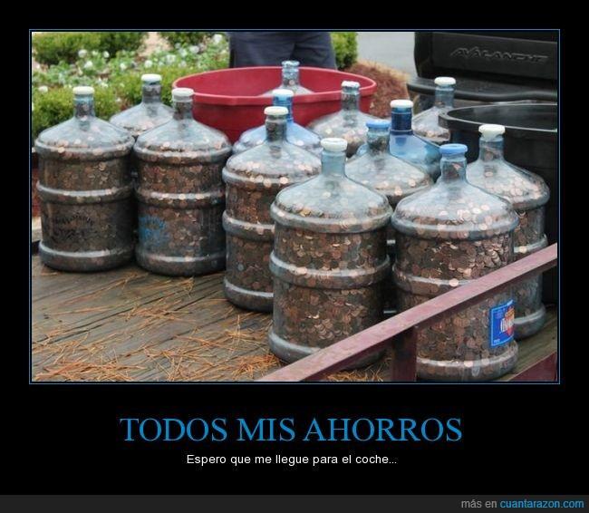 agua,Ahorros,botellas,coche,comprar,galones,jarras,monedas