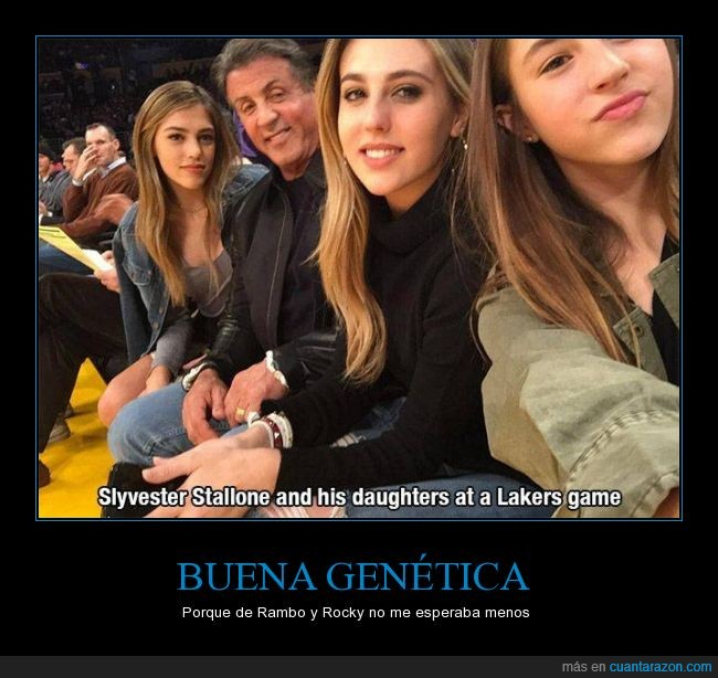 bonitas,familia,guapas,hijas,lakers,partido,Sylvester Stallone