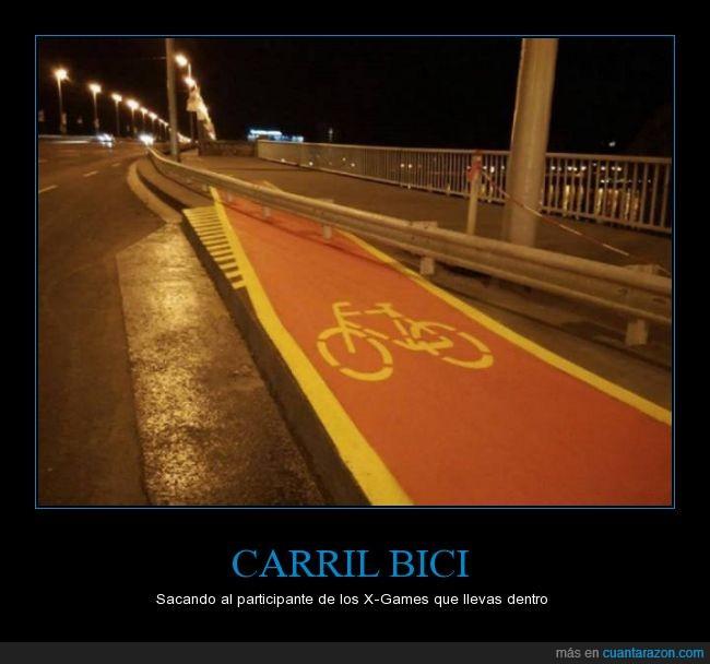 bici,bicicleta,carretera,carril,imposible,peligro,quitamiedos,saltar,subir