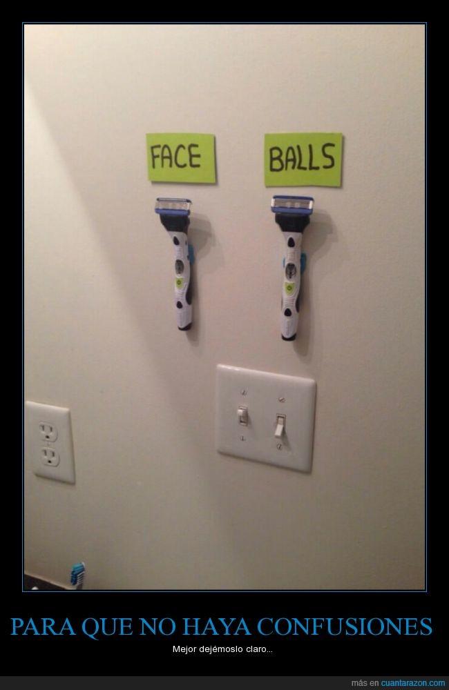 afeitar,cara,confusión,cuchilla,diferenciar,diferente,huevos,máquina,marcar,pelotas