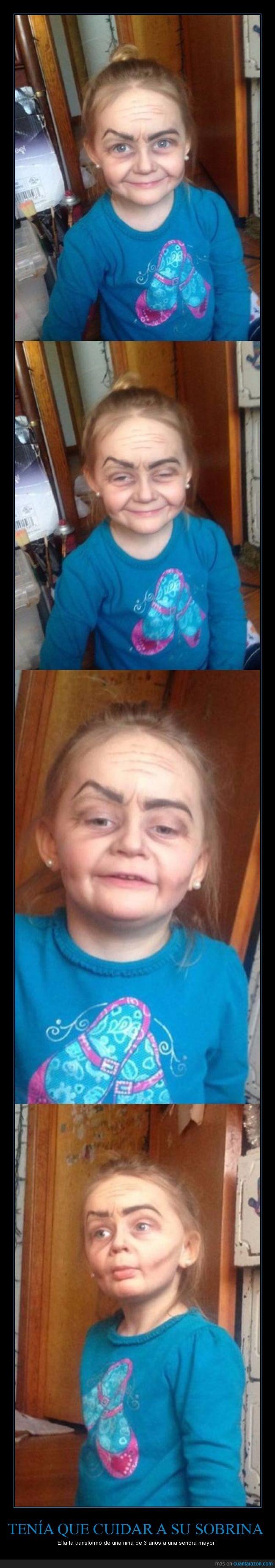abuela,años,arrugas,edad,maquillaje,mayor,mujer,niña,señora,sobrina,tia,tres