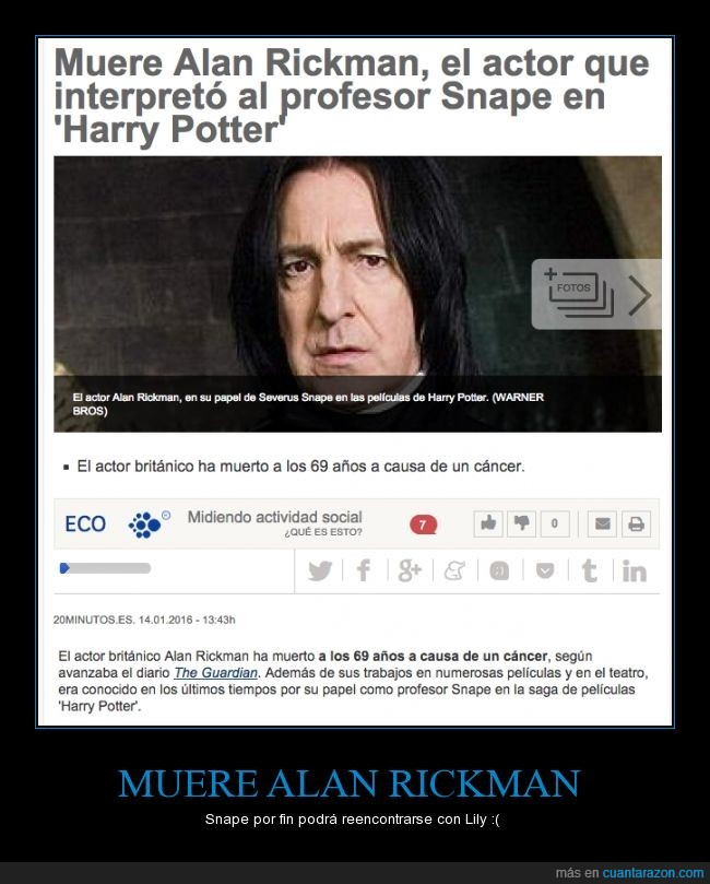 actor,Alan Rickman,dep,Harry Potter,morir,muere,muerte,rip,Severus Snape