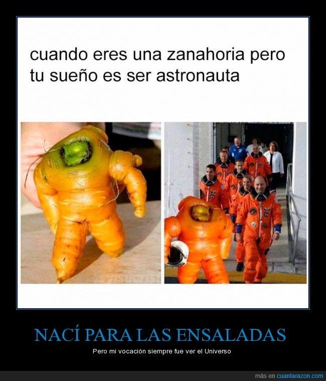 Armaggedon zanahorio,astronauta,ensalada,forma,nava,Universo,zanahoria