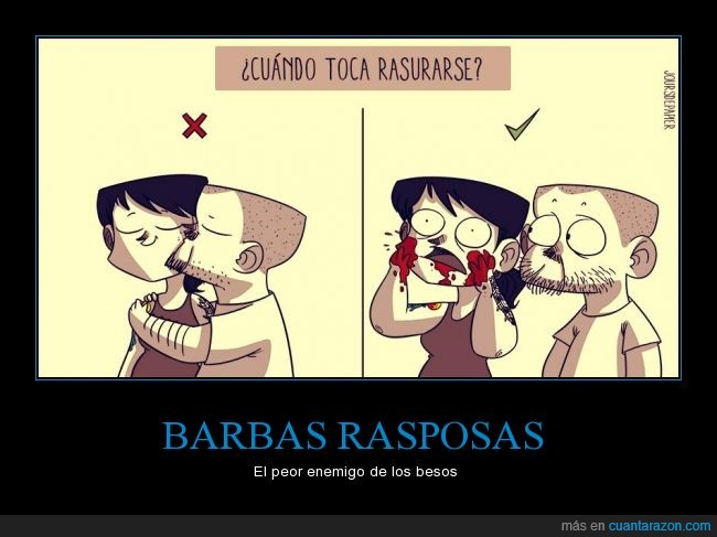 afeitar,barba,beso,pelo,rasurarse,sangrar,sangre,Tania y Esteban