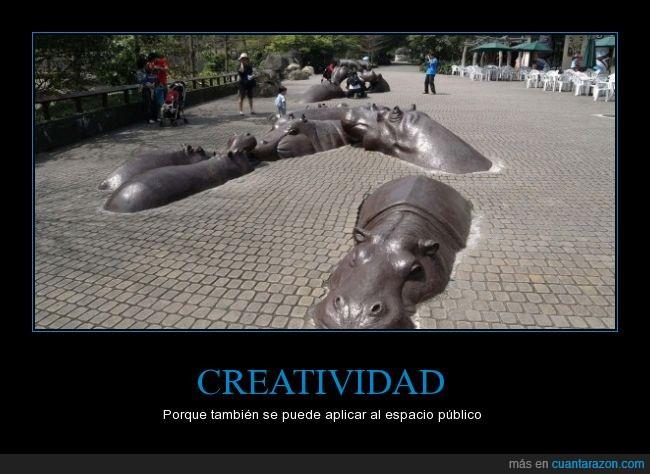 calles,creatividad,esculturas,hipopotamos,nadar