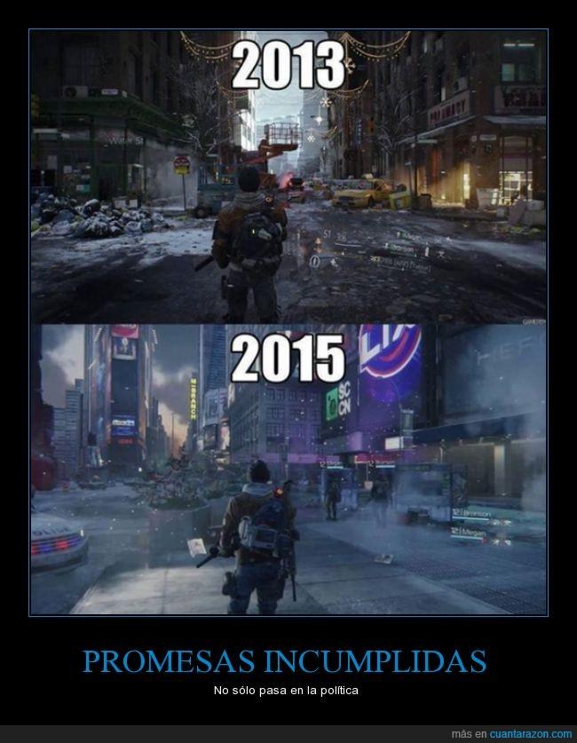 2013,2015,calidad,diferencia,downgrade,imagen,The Division,Tom Clancy,videojuegos