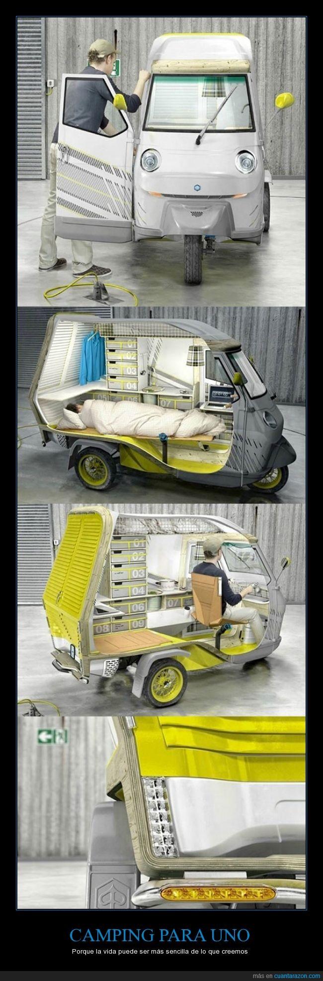 acampar,cama,camping,coche,diseño,moto,pequeño,vehículo