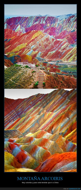 arcoiris,china,color,colorida,montaña,no es photoshop
