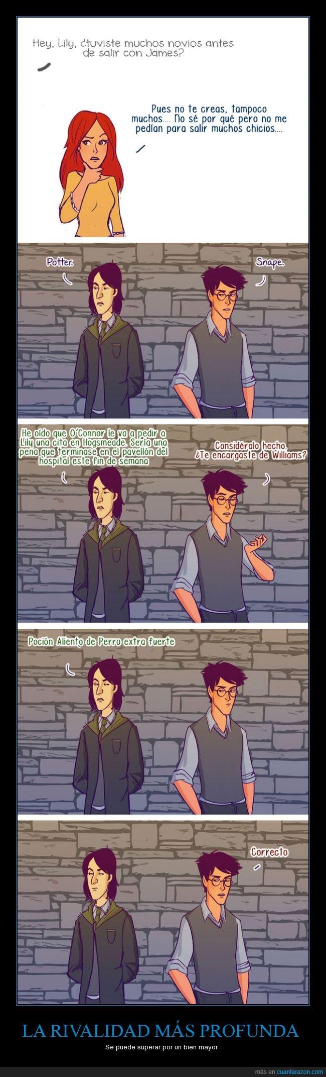 aliento,cita,espantar,Harry Potter,James,Lily,pacto,pedir,perro,rivalidad,Severus Snape