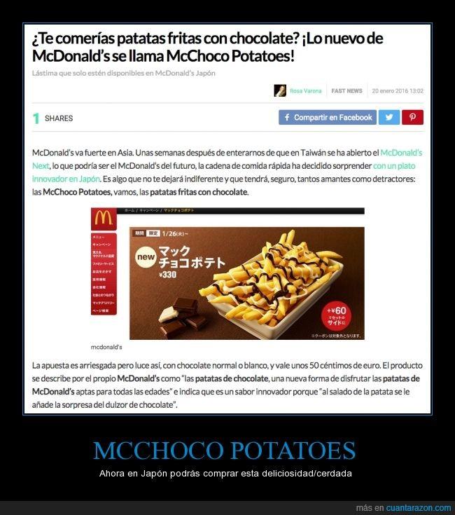 asia,chocolate,fritas,Japón,McChoco Potatoes,McDonalds,patatas