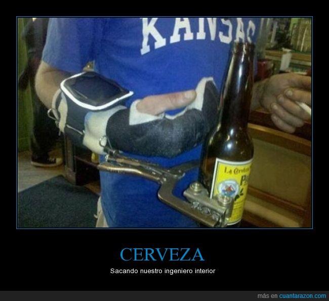 aguantar,Cerveza,dejamelo a mi soy ingeniero,escayola,ingeniero,ingenio,lesión,venda