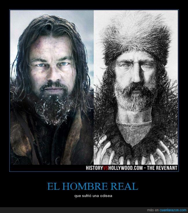 comparación,historia,hombre película,Hugh Glass,Leonardp Dicaprio,real