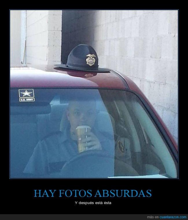 coche,encima,gorra,policia