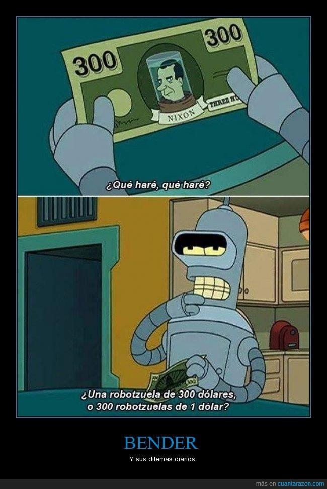 bender,dólar,futurama,matt groening,nixon,pensar,problema,robotzuelas