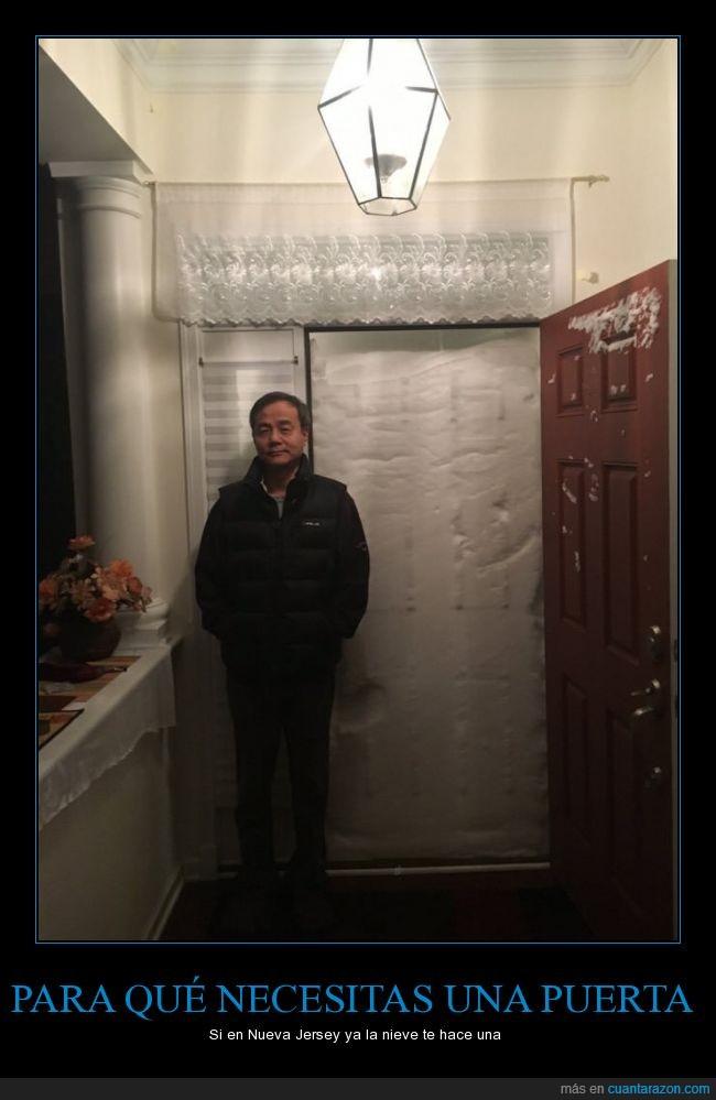 atascado,casa,frío,nevar,nieve,Nueva Jersey,puerta