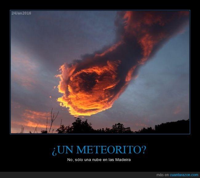 bola,fuego,impresionante,Islas Madeira,meteorito,nube,sol