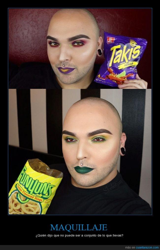 chico,colores,combinar,comida,conjunto,maquillado,maquillaje,snack,Takis