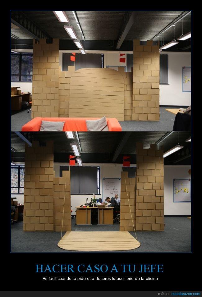 castillo,decorar,escritorio,fuerte,jefe,mesa,oficina
