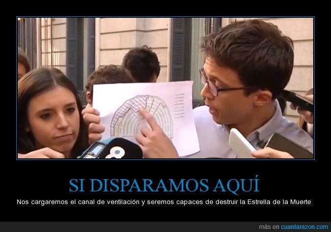 congreso,estrella de la muerte,Íñigo Errejón,parlamento,plano,podemos,señalar,star wars