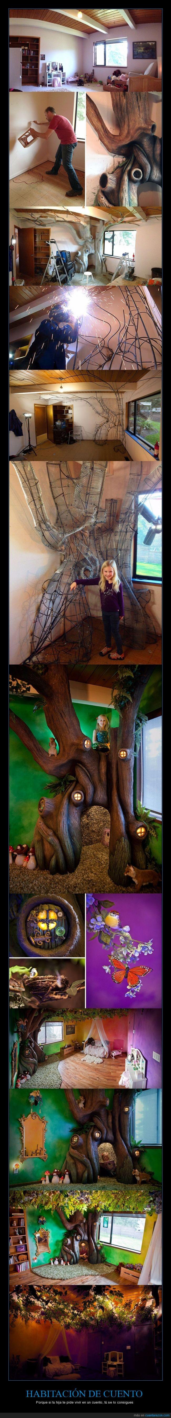 árbol,crear,cuento,habitación,hadas,hierro,hija,niña,padre