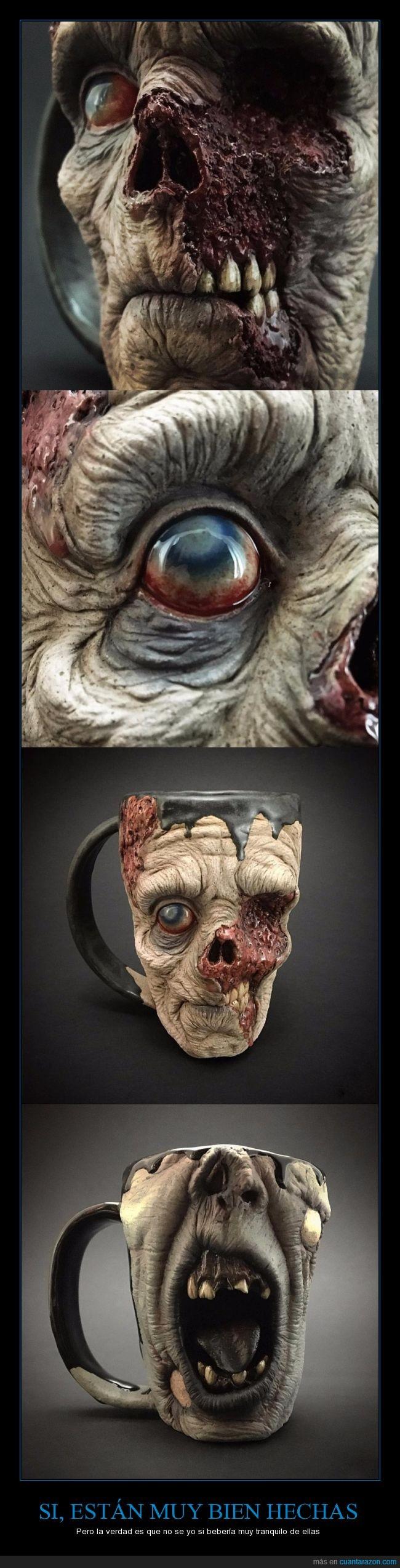 apocalipsis,asco,boca,café,desayuno,realista,taza,zombie