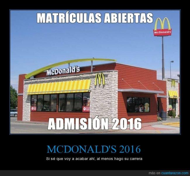 2016,aspiración,estudiar,mcdonalds,restaurante,universidad