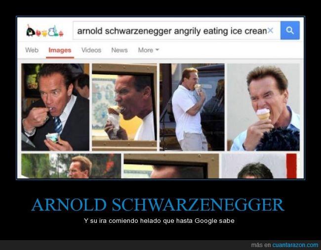 arnold schwarzenegger,comer,helado,mala leche