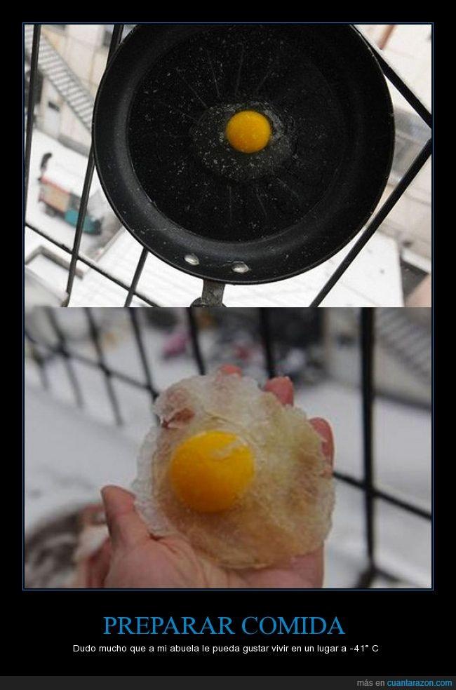 abuela,casa,cocinar,comida,congelado,frito,huevo,nieve,sartén