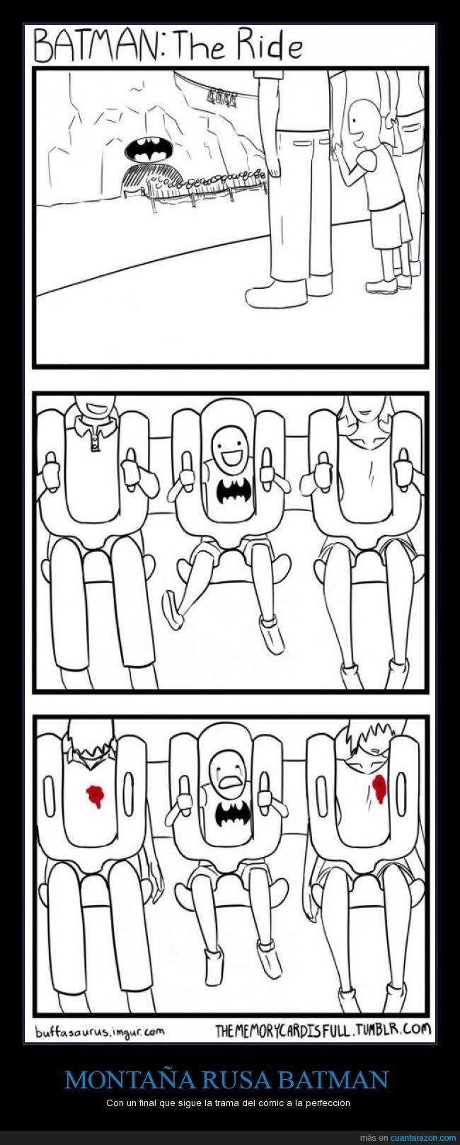 alegría,atracción,Batman,disparo,fan,huerfano,llorar,matar,montaña rusa,niño,parque,veracidad