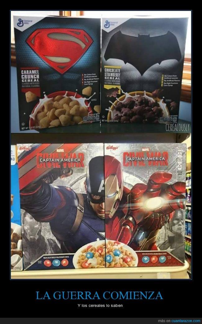 Batman,cajas,Capitan America,cereales,civil war,guerra,Iron man,Superman