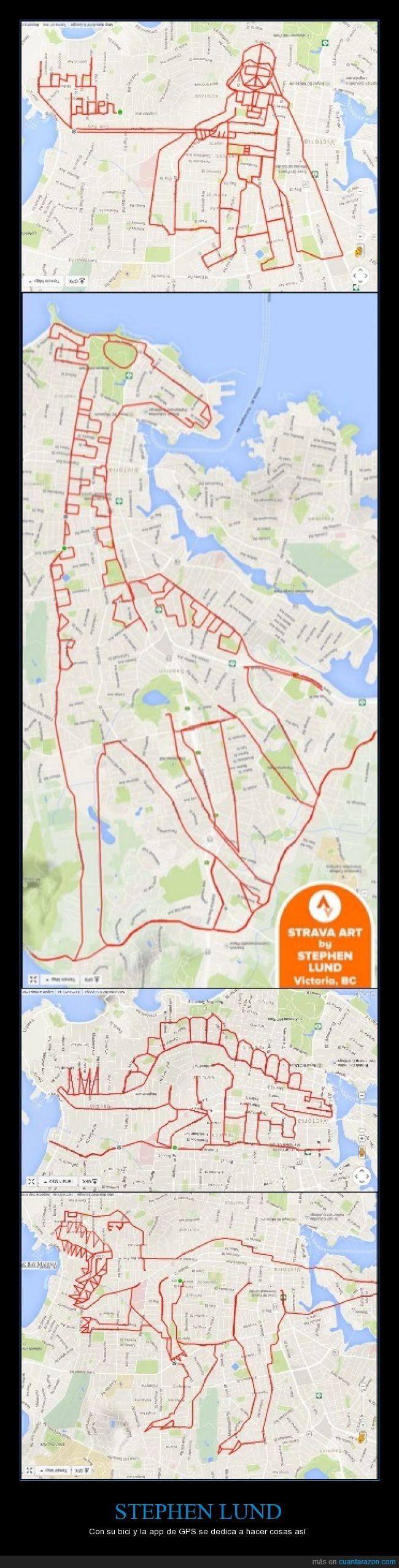 bici,ciudad,Darth Vader,dibujo,dinosaurio,GPS,Stephen Lund