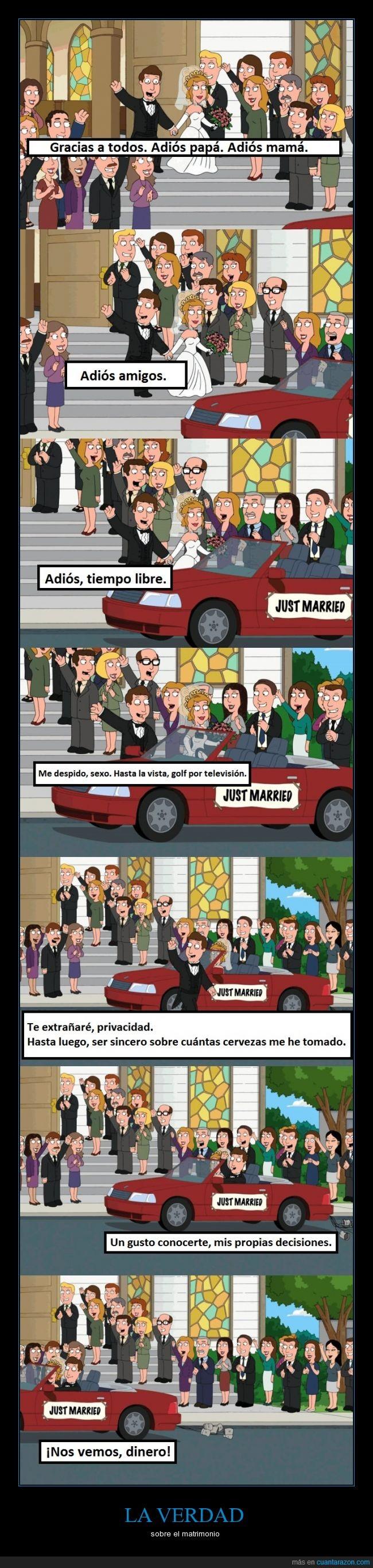 atado,casarse,despedirse,libertad,matrimonio,mujer,padre de familia,verdad