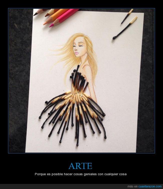 arte,cerillas,chica,creativo,Edgar Artis,fosforos,genial,quemado,vestido