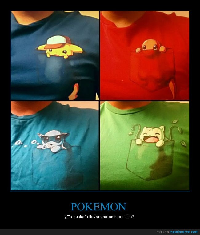 bolsillo,bulbasaur,camisa,charmander,colores,genial,pikachu,pokemon,squirtle