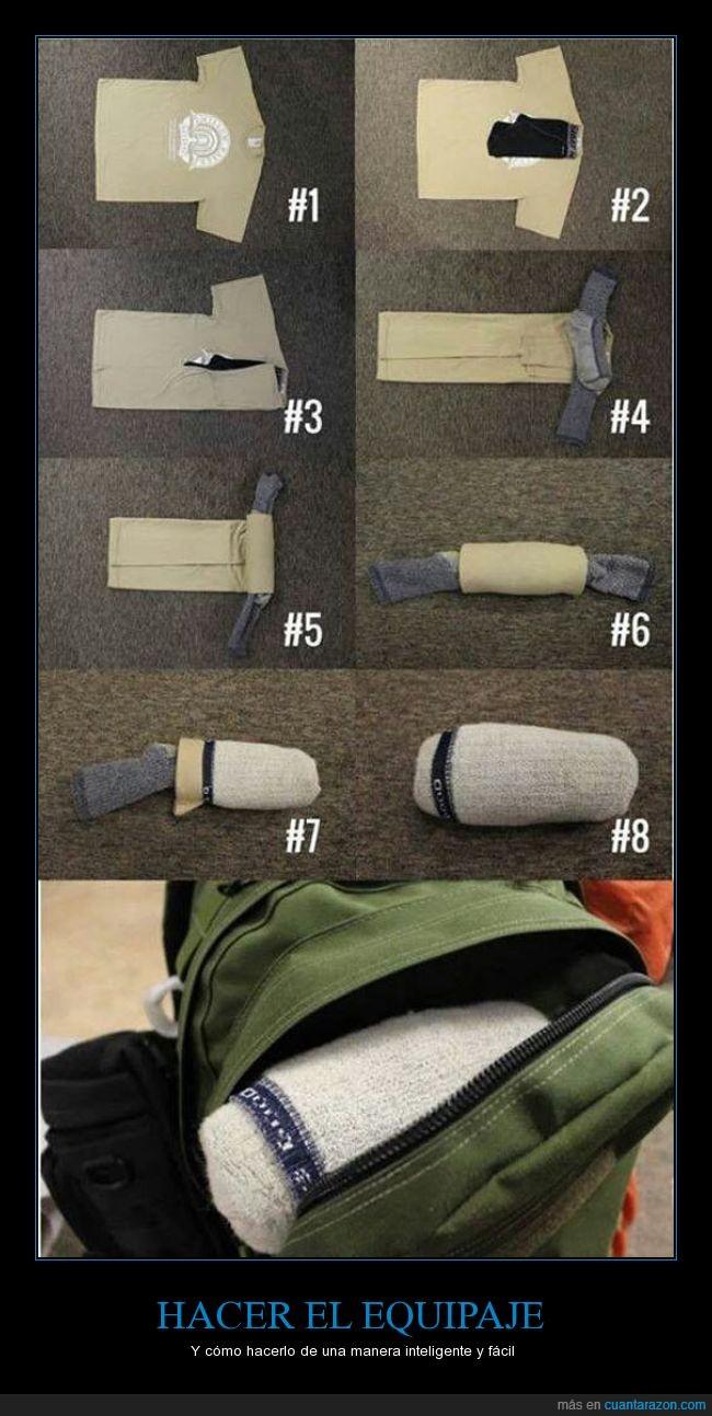 ahorrar,creativo,doblar,equipaje,espacio,facil,genial,guardar,inteligente,maleta,orden,ropa