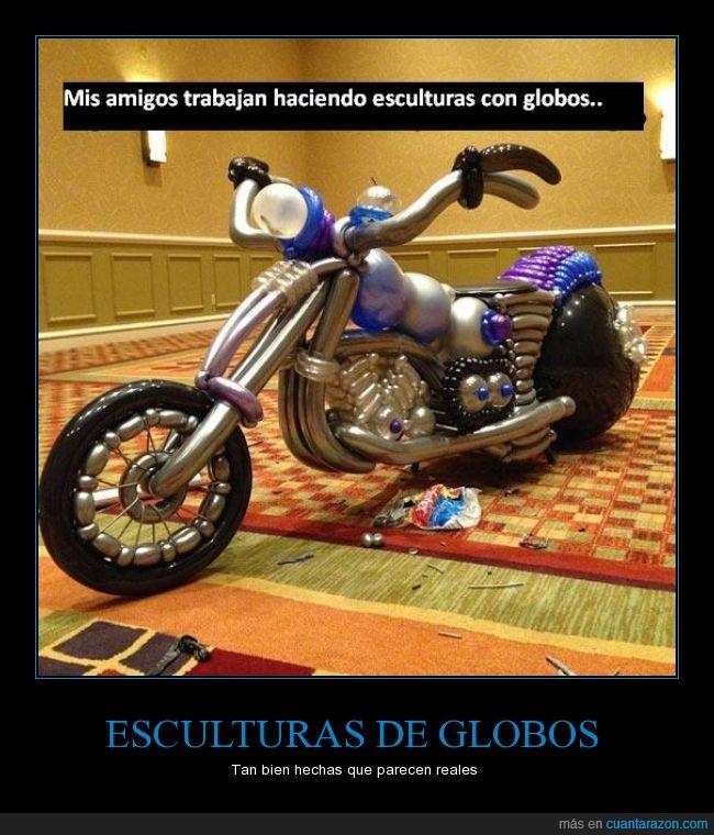 arte,escultura,genial,globos,moto,real
