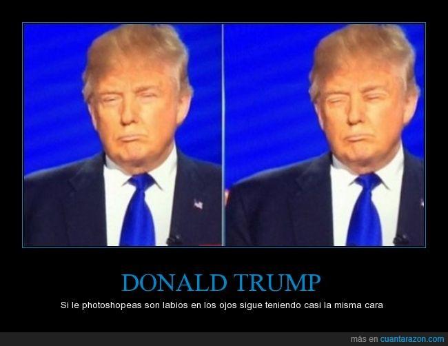 boca,Donald Trump,labios,ojos,photoshop